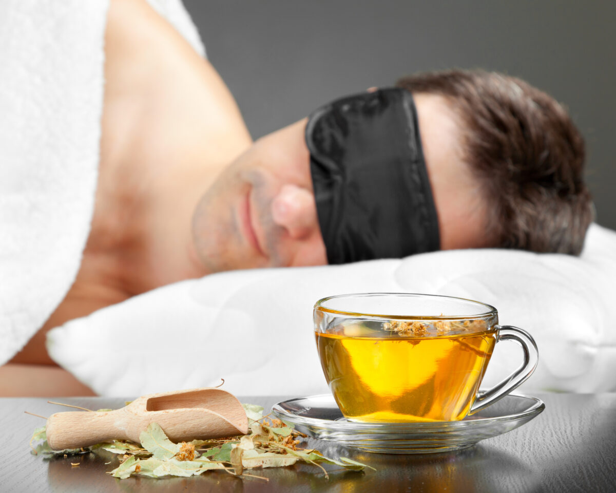 Man sleeping after drinking herbal tea