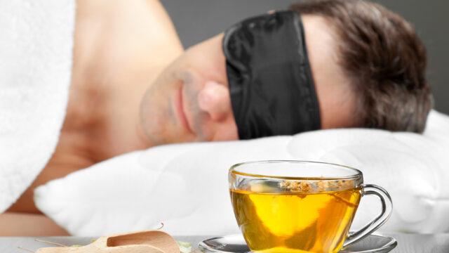 Man sleeping after drinking herbal tea